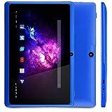 Alldaymall A88X Tablette tactile 7 pouces - Android 4.4, Quad Core, 1024x600 HD, double caméra, Bluetooth, Wi-Fi, 8GB, jeux 3D pris en charge - Bleu...