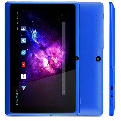 "Alldaymall A88X Tablet PC da 7 pollici Android 4.4 (Schermo HD da 7""), Processore Quad Core 1,3 GHz, HD 1024x600, Wi-Fi, HDD da 8 GB - Blu"