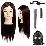 xnicx 75% Cheveux Brun Long Naturel Tête À Coiffer...