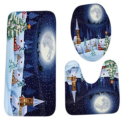SZFYZCY Weihnachts Badezimmer vorne Anti-Skid WC-Sitz 3-teiliges Set Weihnachts Moon House 50 * 80 cm + 40 * 50cm + 38 * 43cm,A,50 * 80cm+40 * 50cm+38 * 43cm