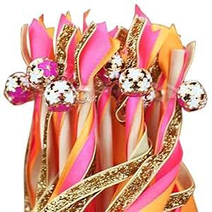 5 x Baguette Bâton Magique Fée avec Ruban Déco pour Mariage Fête ROSE+ORANGE