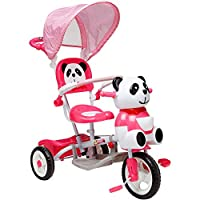 Globo Toys Globo - 36957 Vitamina_G Pink Panda Metal Tricycle with Handle and Sunshade