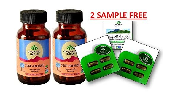 ORGANIC INDIA SUGAR BALANCE 60 CAPSULES BOTTLE (PACK OF 2) WITH FREE SUGAR  BALANCE CAPSULE SAMPLES