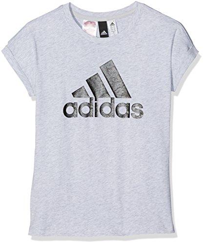 adidas Mädchen Logo T-Shirt, Light Grey Heather/Black, 140 (Adidas Grey Logo-t-shirt)