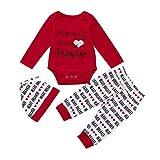 Baby Bekleidung Set FORH Neugeborenes Baby Mädchen Valentinstag Brief Drucken Strampler Sweatshirt Tops + Love Herz muster Gedruckt lang Hosen +Hut Outfits Set (Rot, 70)
