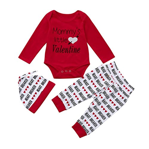 Muster Tanzkleider Kostüm - Baby Bekleidung Set FORH Neugeborenes Baby Mädchen Valentinstag Brief Drucken Strampler Sweatshirt Tops + Love Herz muster Gedruckt lang Hosen +Hut Outfits Set (Rot, 70)