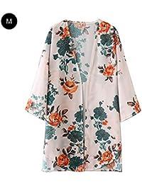 LyhomeO Cardigan pour femmes, manteau de kimono crème solaire en mousseline  de soie avec manches 6781a3873d5