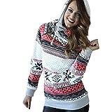 JUTOO Damen Hoodie Sweatshirt Pullover Pullover mit Kapuze Pullover(Weiß,EU:42/CN:L)
