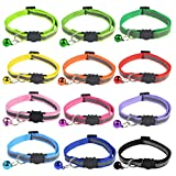 mifengdaer 12pcs Reflective Cat Collars, Cat Breakaway Collar Safe Quick Release Cat Collar with Bell Outdoor Indoor Cat Collar Set Small Adjustable Safety Strap for Small Animal, 18-31cm 12Colors