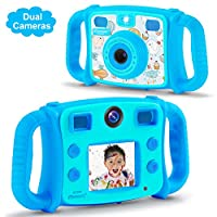 DROGRACE Kids Camera 1080P HD Dual Selfie Photo/Video Cameras with 4X Digital Zoom, Flash Lights, 2 inch LCD, Built-in Microphone, Speaker and Shockproof Handles - Blue