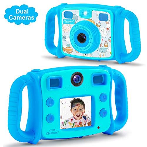 DROGRACE Kids Kamera Dual Objektiv Digital Video Kamera 1080p FHD Selfie Duo Kamera mit 4x Zoom, Flash Lichter, 5,1cm LCD für Jungen Mädchen Geburtstag Urlaub Geschenk