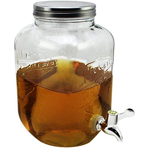 COM-FOUR® Dispensador de agua y jugo con tapón de rosca, dispensador de bebidas hecho de vidrio en diseño de tarro de albañil con pico, hasta 3.5 L (01 pieza - 3,5 litros)