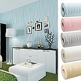 Kinlo 10 x 0.53M Wandtapete 3D-Tapete Vliestapete,3D Relief Tapete Dekoration für TV Wand Wohnzimmer Schlafzimmer und Hotel - Hellblau