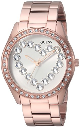 Guess Women's Stainless Steel Crystal Heart Watch, Color: Rose Gold-Tone (Model: U1061L2)