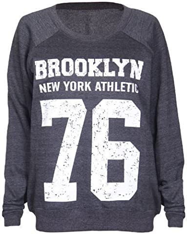 Womens Brooklyn New York Athletic 76 Varsity Print Ladies Long Raglan Sleeves Crew Neckline Sweatshirt Jumper Top Dark Grey Size 8 -