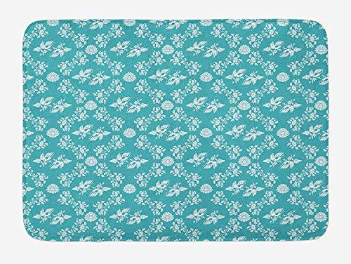 HLKPE Seafoam Bath Mat, Harmonious Birds Lotus Leaves Asian Culture Inspired Illustration Vintage Design, Plush Bathroom Decor Mat with Non Slip Backing, 23.6 W X 15.7 L Inches, Tead White -