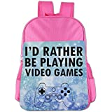 I'd Rather Be Playing Video Games Teenage Backpack Book Bag Boys' Girls' School Bags Pink