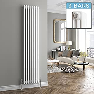 iBathUK 1800 x 376 mm Traditional Vertical Radiator White 3 Bar Column | Original premium radiator