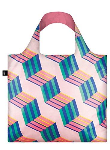 LOQI Geometric Einkaufstasche / Reisetasche Reise-Henkeltasche, 50 cm, Cubes (New) - Zip-n-griff