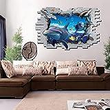 3D Effekt Delphin Unterwasserwelt Wandaufkleber (Abnehmbar, Wasserdicht, Grün) für Wohnzimmer Schlafzimmer Büro Wohnheim Hintergrund Dekoration,Zahl