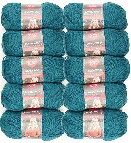 Red Heart Lovely Wool, Fb.6203 Teal, 500g Wollpaket zum Stricken oder Häkeln