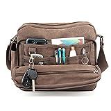 HanLuckyStars Umhängetaschen Herren Kleine Premium Canvas Retro Messenger Bag Multifunktional Casual Reisetasche Rucksack Umhängetasche Schultertasche mit Vielen Fächern für Männer Damen