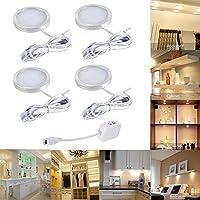 4pcs LED Under Cabinet Lighting Fixture, Interior Puck Lights for Kitchen, Closet Lights, Shelf Lighting,Under Counter Lighting (DC 12V, Warm White)