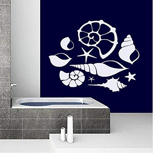HAOWANGJIAO Wandtattoo Vinyl Abnehmbare Muschel wandaufkleber Bad Shell Wandbild Bad Dusche Baby Nautische Kunst Tapete 57 × 46 cm