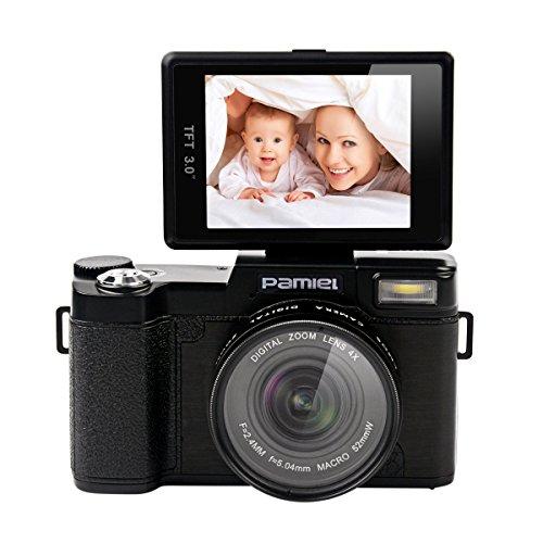 CkeyiN 24MP 4X Zoom Appareil photo numérique 3,0 pouces 180 degrés rotative TFT écran, Anti-vibration électronique + 0.45X Lentille Grand Angle + Filtre UV