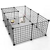 Tespo Box per cani, recinzione per recinzione metallica per recinti per animali domestici, tenda per recinzione per cassette per cucce, pannelli 12 neri