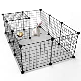 Tespo Hund Laufgitter, Indoor Portable Metalldraht Hof Zaun für Kleintiere, Popup Kennel Kiste Zaun Zelt, schwarz 12 Panels