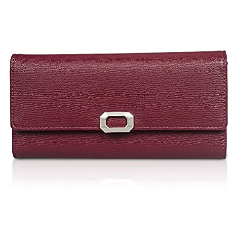 Fency Womens Multi-Card Faux Leather Wallet Long Tri-fold Matte Net Surface Purse Clutch (Burgundy)