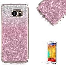 Samsung Galaxy S3/S4/S5/S6/S7Edge, A310/A510, Nota 5, G850F, G530, G360caso [con protector de pantalla], funyye suave silicona Gel TPU Ultra fina con purpurina dorado Gradual Cambio de color carcasa funda de goma protectora