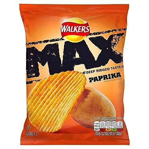 Walkers Max Ridged Paprika Crisps 50 g (Pack of 24)