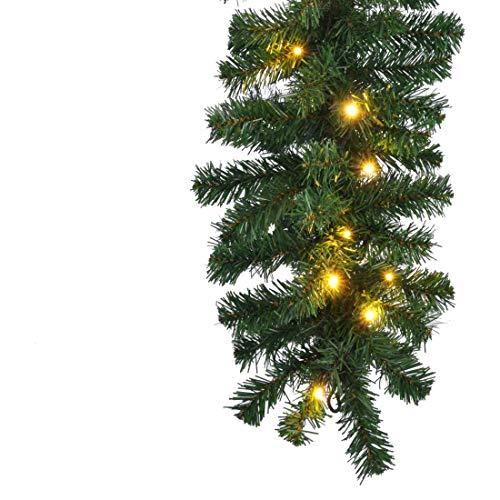 HI Tannengirlande aussen 270 cm - Grüne Girlande mit Lichterkette (40x LED), weihnachtliche Girlande mit Licht als Weihnachtsdeko aussen