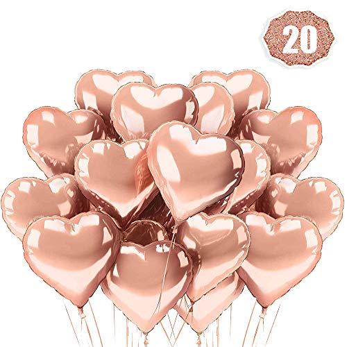 LAKIND Herz Folienballon Rosegold 20 Stück Herz Helium Luftballons Herzluftballons Heliumballon Folienballon Hochzeit Folienluftballon Geeignet für Geburtstag Brautdusche Valentinstag(Rosegold-20pcs) Gold-folie-deckel