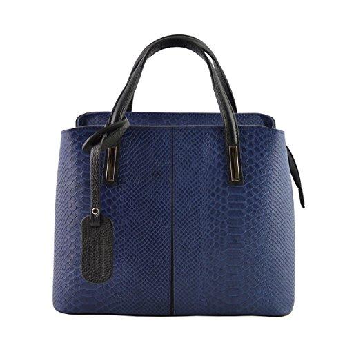 Sac à Main En Cuir Véritable Imprimé Python Couleur Bleu Foncé - Maroquinerie Fait En Italie - Sac Femme