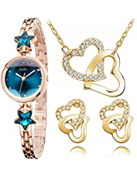 Addic Perfect Gift Heritage & Charm Watch & Hearts In Love Pendant Earring Set Combo (Perfect For Valentine's...
