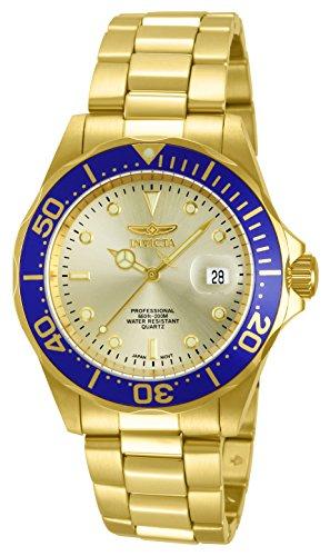 Invicta 14124 Pro Diver Unisex Uhr Edelstahl Quarz goldenen Zifferblat