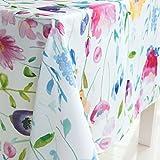 JameStyle26 Tischdecke Tischtuch Decke Küche Wohnzimmer abwaschbar Blatt Blume Bunt Motiv Oxford verschiede Größe und Motive (Blumen 140 x 180 cm)