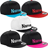 Nashville print factory Kinder Snapback Cap Bestickt mit Namen Wunschtext Stickerei Mütze Basecap Youth Kids (Black/Surf Blue)