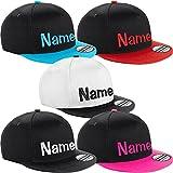 Nashville print factory Kinder Snapback Cap Bestickt mit Namen Wunschtext Stickerei Mütze Basecap Youth Kids (Black/Bright Red)
