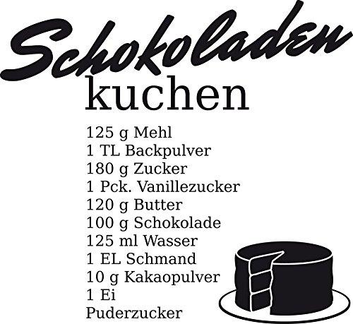 GRAZDesign 620603_30_070 Wandtattoo Küchen-Spruch Schokoladen-Kuchen Rezept | Geschenk für Mama | Wand-Deko für Café - Bar - Kneipe als Aufkleber | selbstklebende Klebefolie (33x30cm//070 schwarz) Küche Schokolade