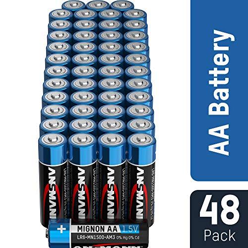 ANSMANN Batterien AA Mignon Alkaline 48 Stück Vorratspack - LR6 Alkali Batterie - Universal und Leistungsstark - umweltschonende Verpackung -