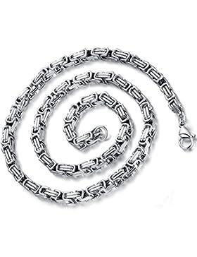Flongo 5mm Breit Edelstahl Halskette Königskette Kette Gold Silber 55cm Motorradfahrer Punk Rock Herren