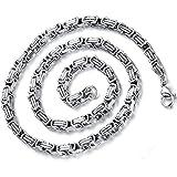 Flongo 5mm Breit Edelstahl Halskette Königskette Kette Silber 55cm Motorradfahrer Punk Rock Herren