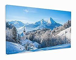 M2M Prints Leinwanddruck Deutschland Kirche Maria Gern und berühmter Watzmann Summit, Canvas, Multi, 152x91cm (60x36 Inches)