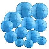 Papierlaterne 12 Stück Blau Papier Lampions Schöne Hochzeit Deko Papierlampe rund Papier Laterne Lampenschirm Garten Party Dekoration Ballform (verschiedene Größen)
