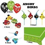 Angry Birds Set Deko Tischdecke Strohhalme Luftrüssel Luftballons Kerzen für 6 Kinder