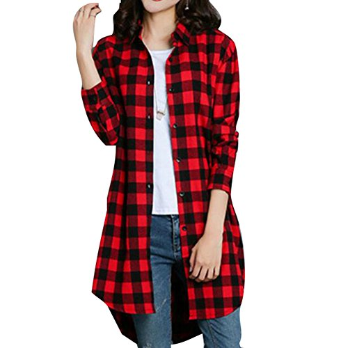 Damen Kariertes Hemd - Highdas Baumwolle Bluse Oversize Oberteile Tuniken Hemd Plaid Langarm Shirt